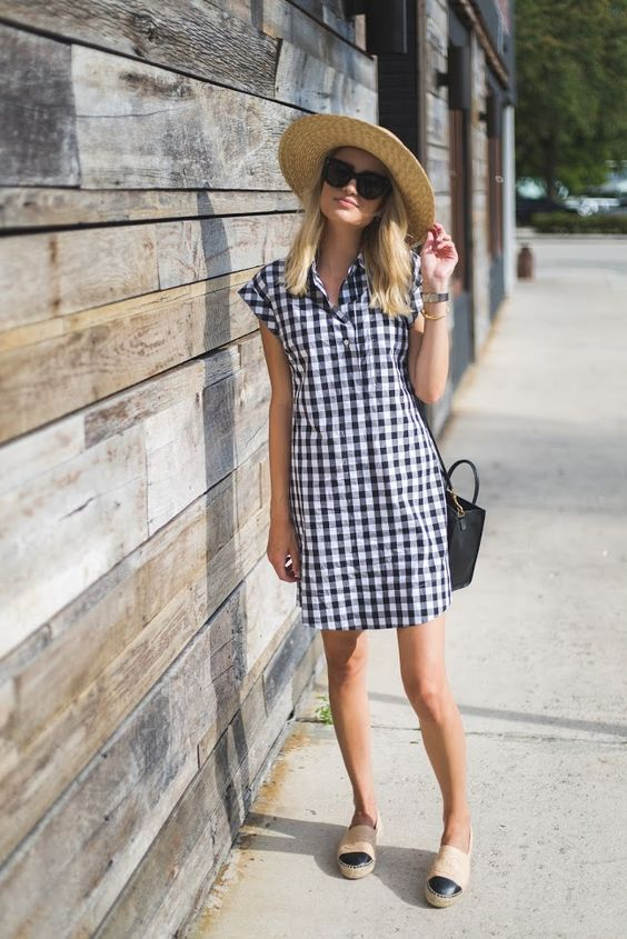 gingham perfect summer dress hat summer style