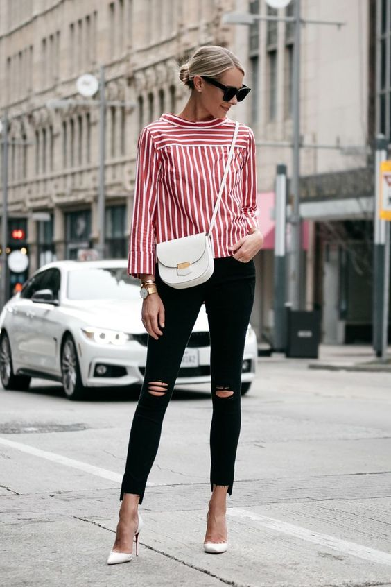 stripes red and white blouse black skinny jeans street style fashion