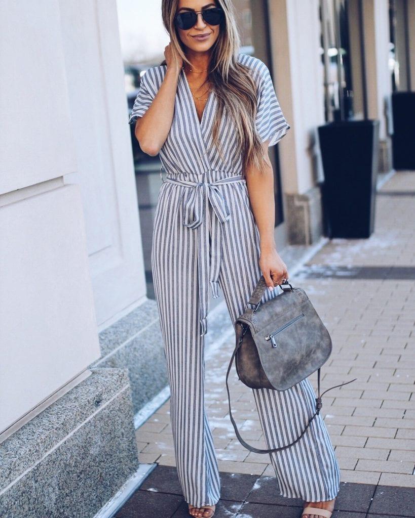 stripes jumpsuit fashion street style