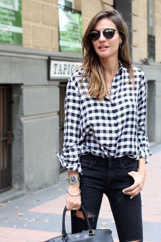 gingham classic shirt black and white check with black jeans