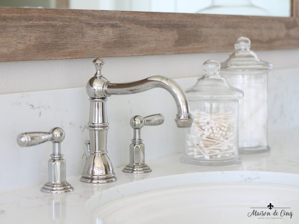 master bathroom remodel faucet close up quartz counters
