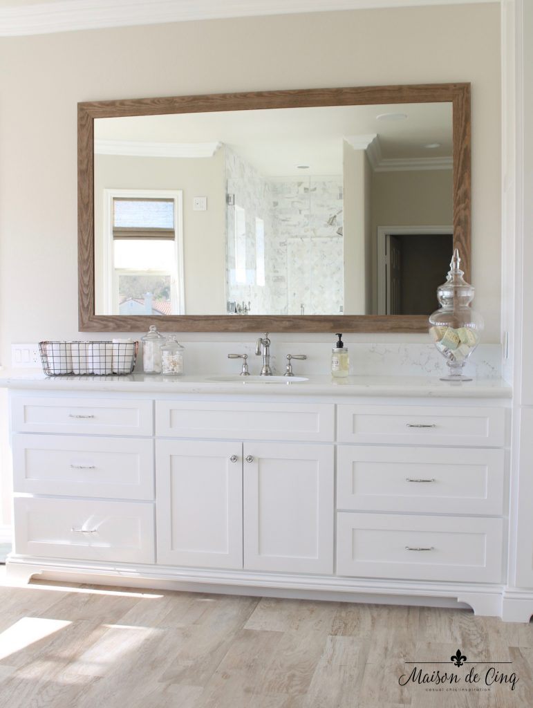 master bathroom remodel sink vanity area barn wood mirror farmhouse style taupe paint