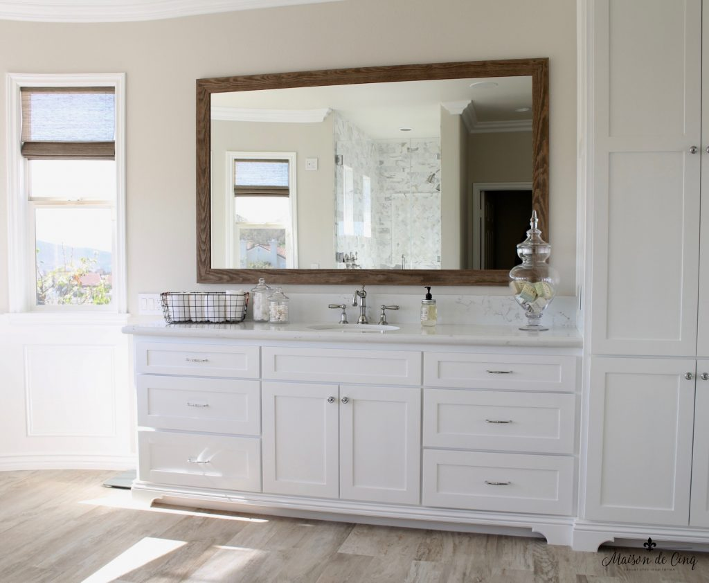 master bathroom remodel sink vanity area barn wood mirror