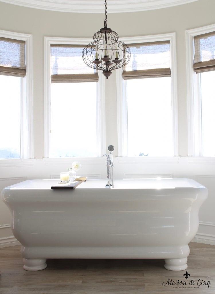 master bathroom remodel stunning free standing tub iron bird cage chandelier