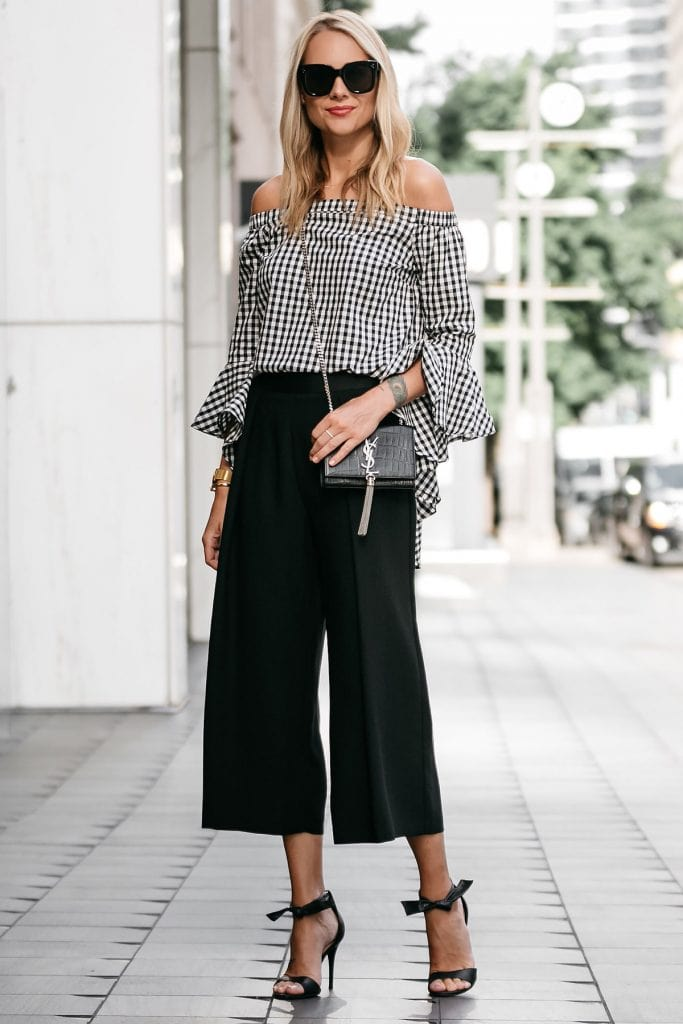 gingham off the shoulder top with black cropped pants heels chic style