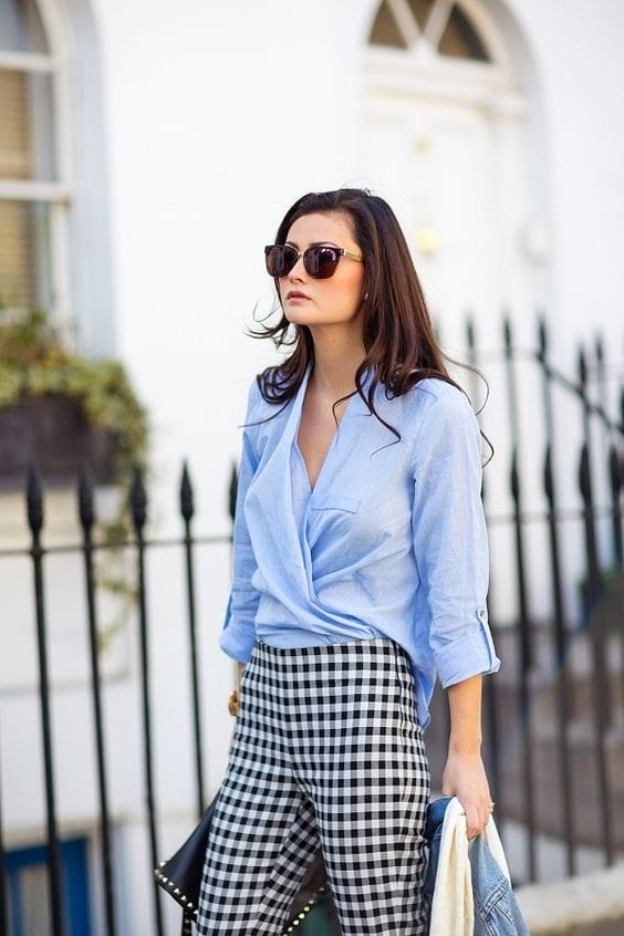 gingham black and white cigarette skinny trousers pants blue blouse