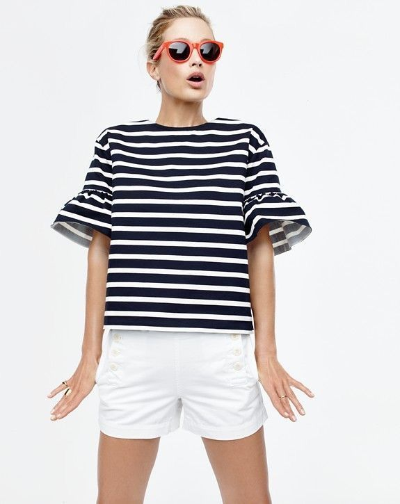 stripes tee black and white shorts summer style J Crew fashion