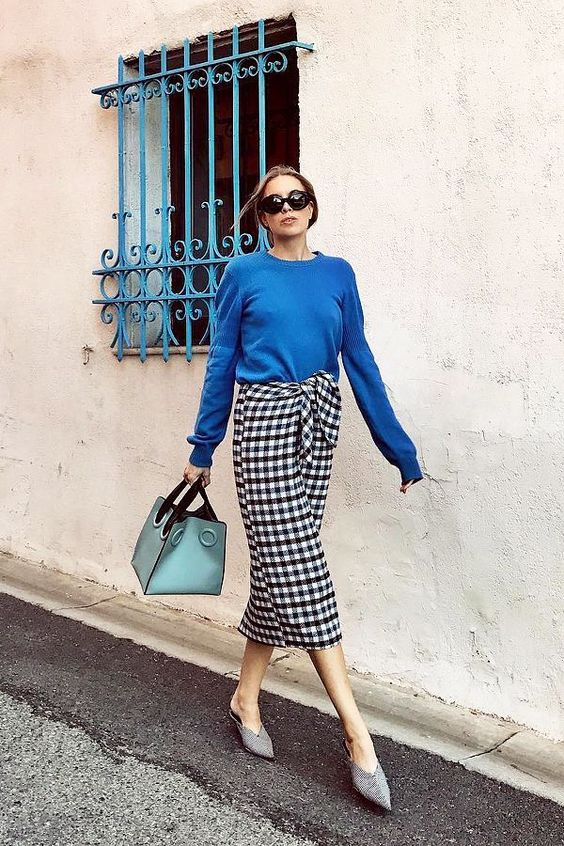 gingham skirt blue shirt chic street style fashion