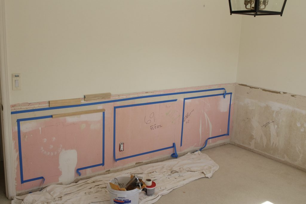 one room challenge prep for wainscoting tape trim samples home office