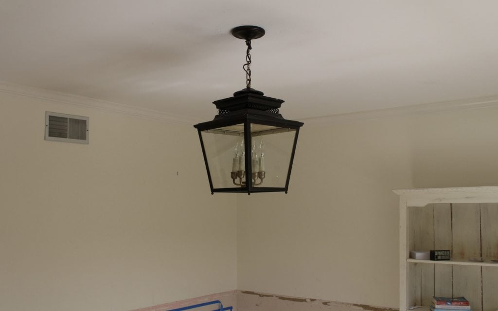 one room challenge home office makeover lantern lighting choice