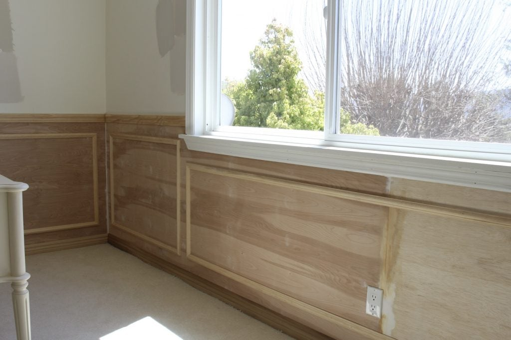 wainscoting home office remodel one room challenge 4