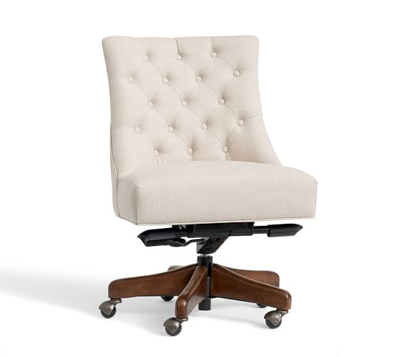 desk chair choice Pottery Barn tufted one room challenge