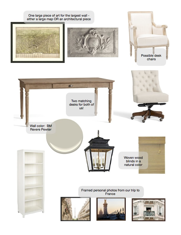 one room challenge mood board home office vintage french style