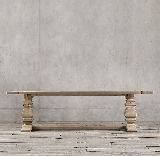 restoration hardware reclaimed wood trestle table distressed farmhouse style