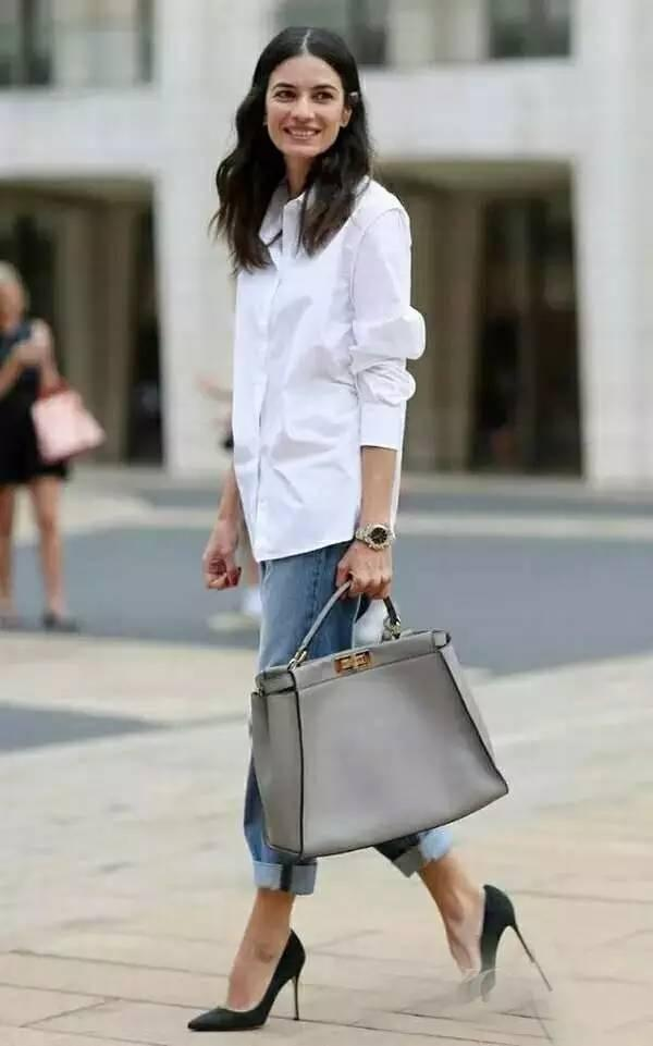 French Style White Shirt Jeans Pumps Chic Street Fashion