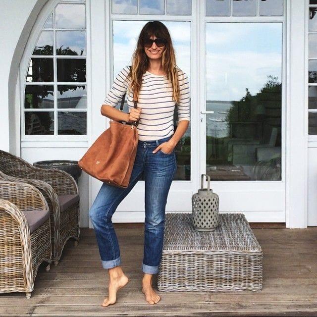 french style striped tee denim great handbag casual chic fashion