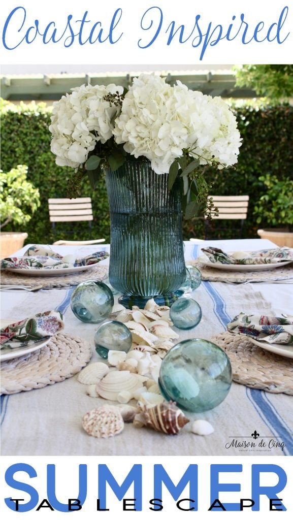 coastal inspired tablescape shades of blue, hydrangeas and shells