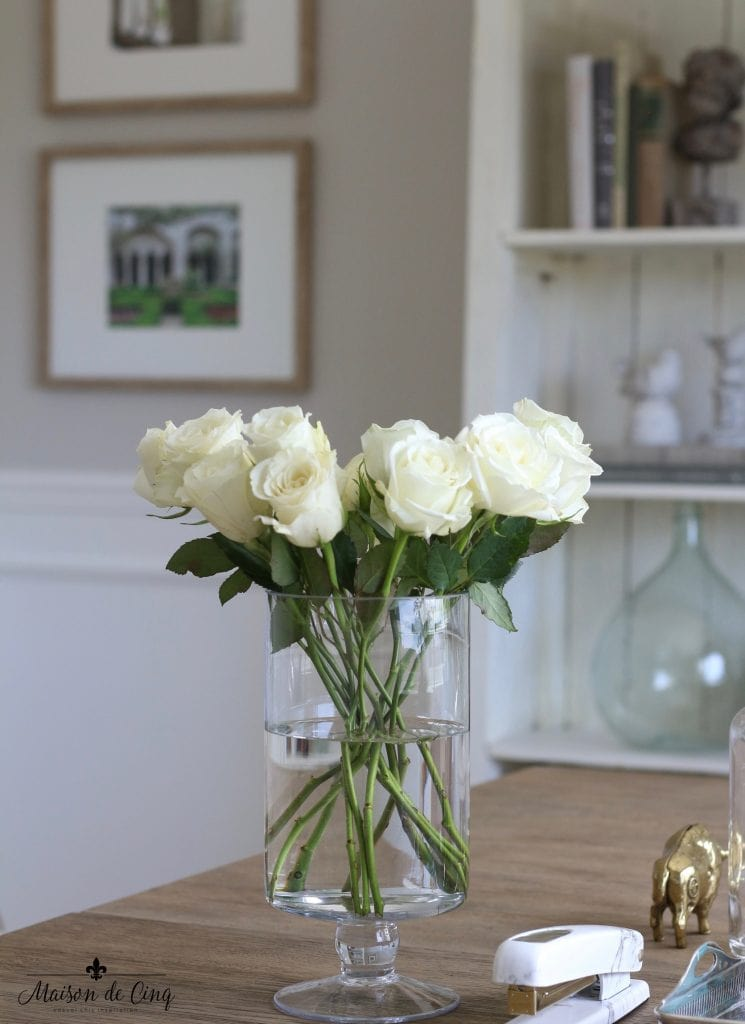 home office makeover french style roses vase gorgeous styling one room challenge