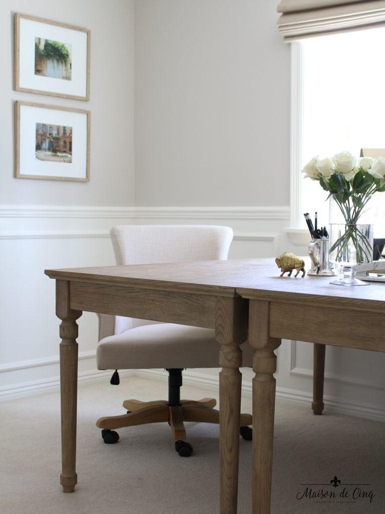 home office makeover desk chair artwork prints neutral color one room challenge