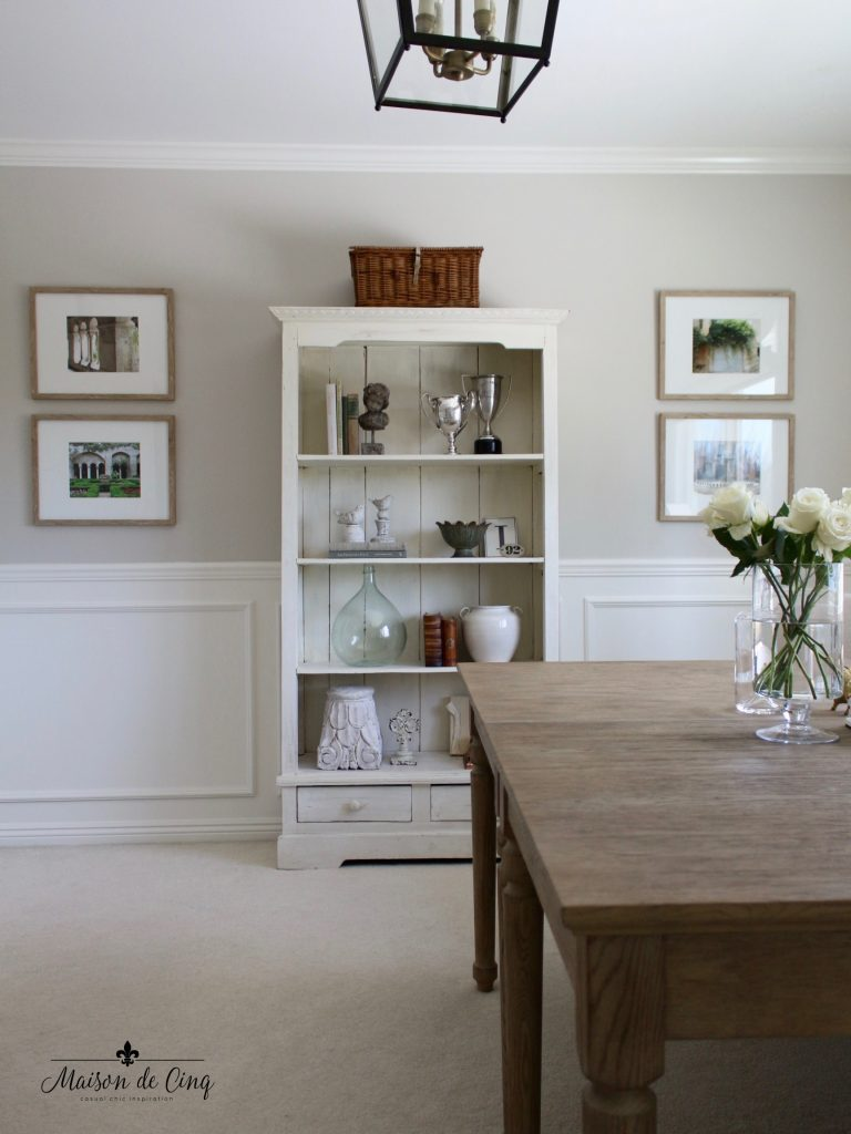 home office makeover french inspired bookcase shelves styling artwork gallery wall wainscoting one room challenge