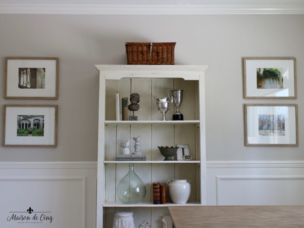 home office makeover bookcase shelf styling french inspired neutral colors one room challenge