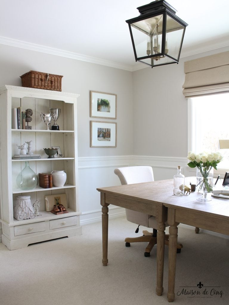 home office makeover french inspired neutral colors lantern bookcase desk one room challenge
