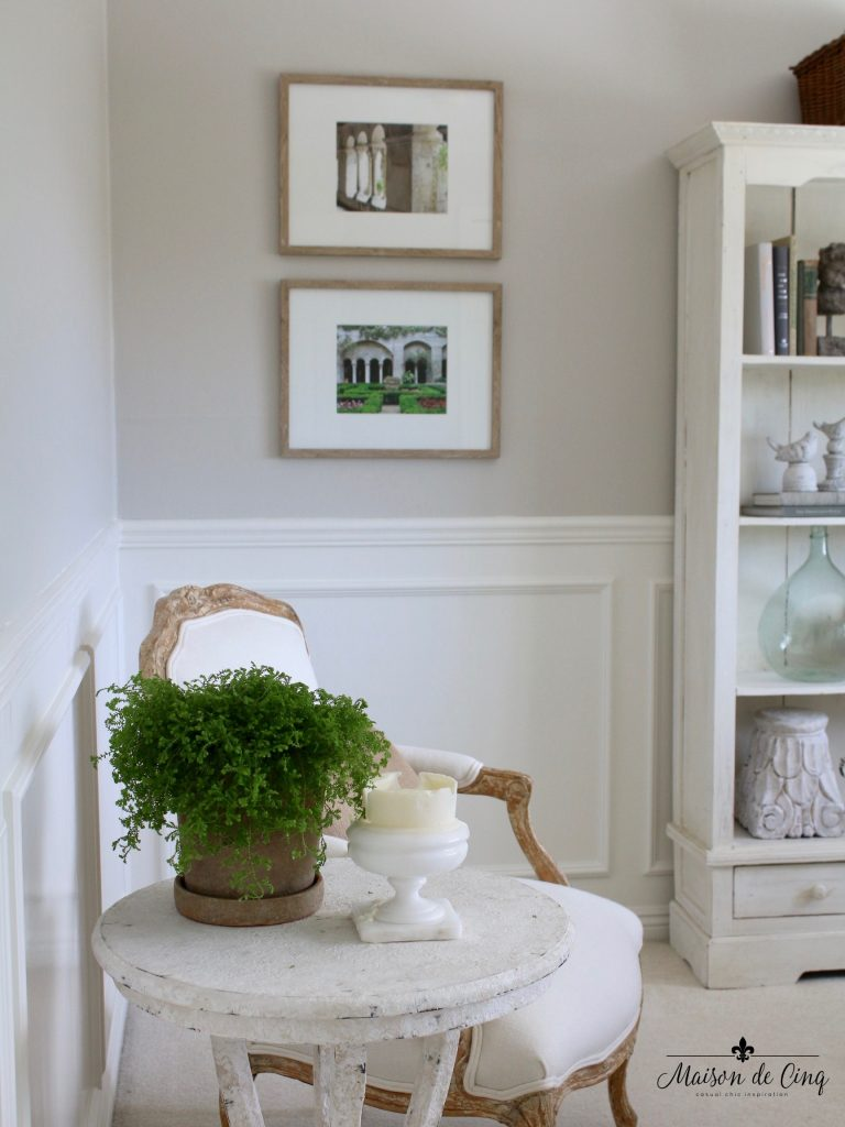 home office makeover french inspired chair side table prints on wall wainscoting one room challenge