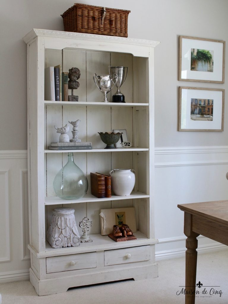 home office makeover bookcase shabby chic french style one room challenge