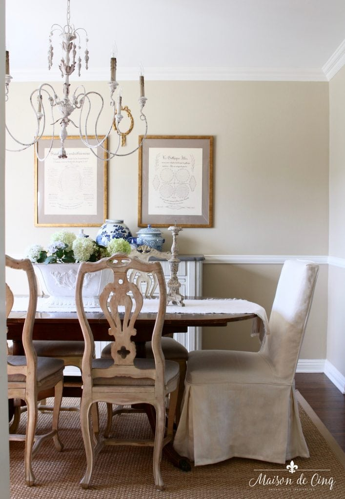 french country summer home tour neutral dining room table chairs