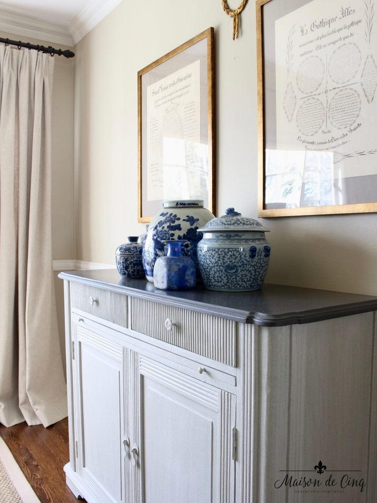 blue and white ginger jars dining room french country style