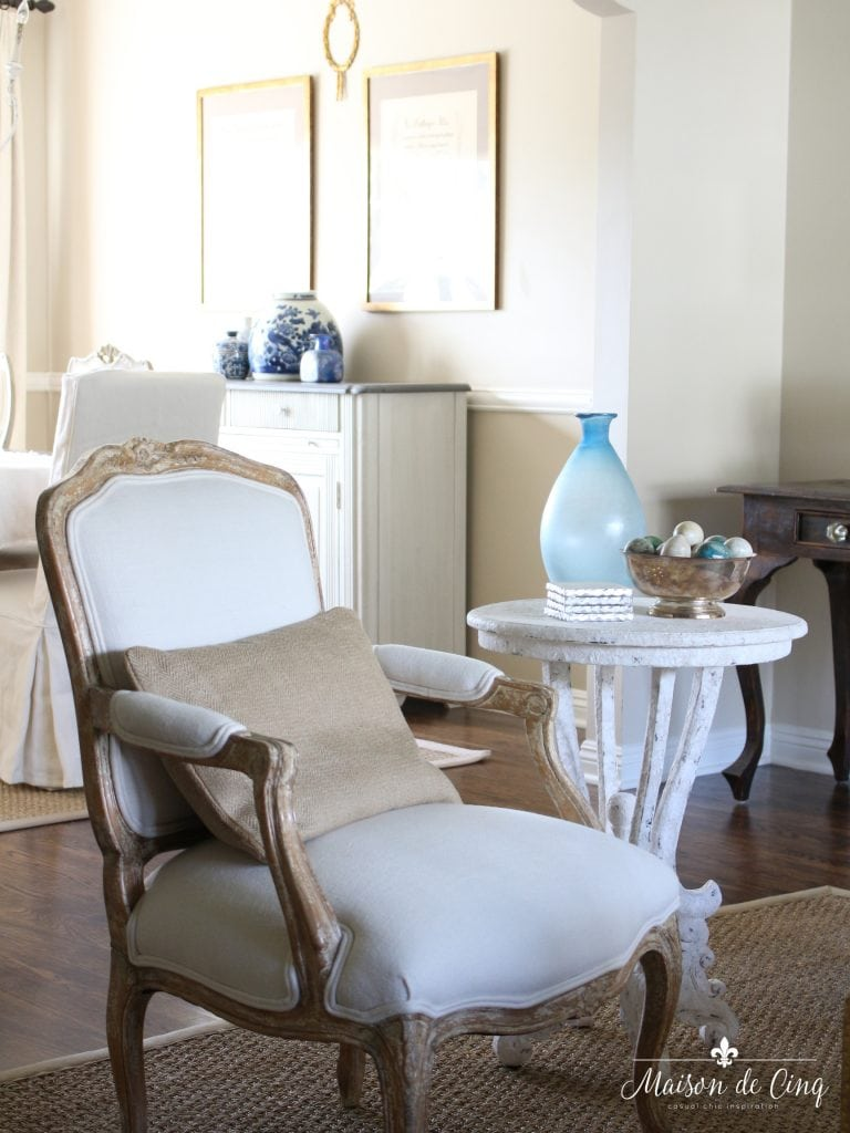 french country summer home tour neutral french country living room with accents of blue