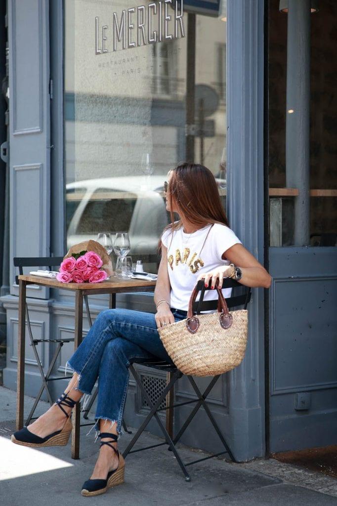 french style straw bag denim tee shirt espadrilles summer casual chic fashion