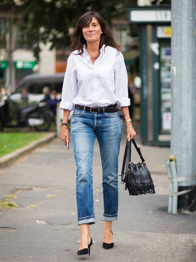 french style white shirt jeans pumps street fashion