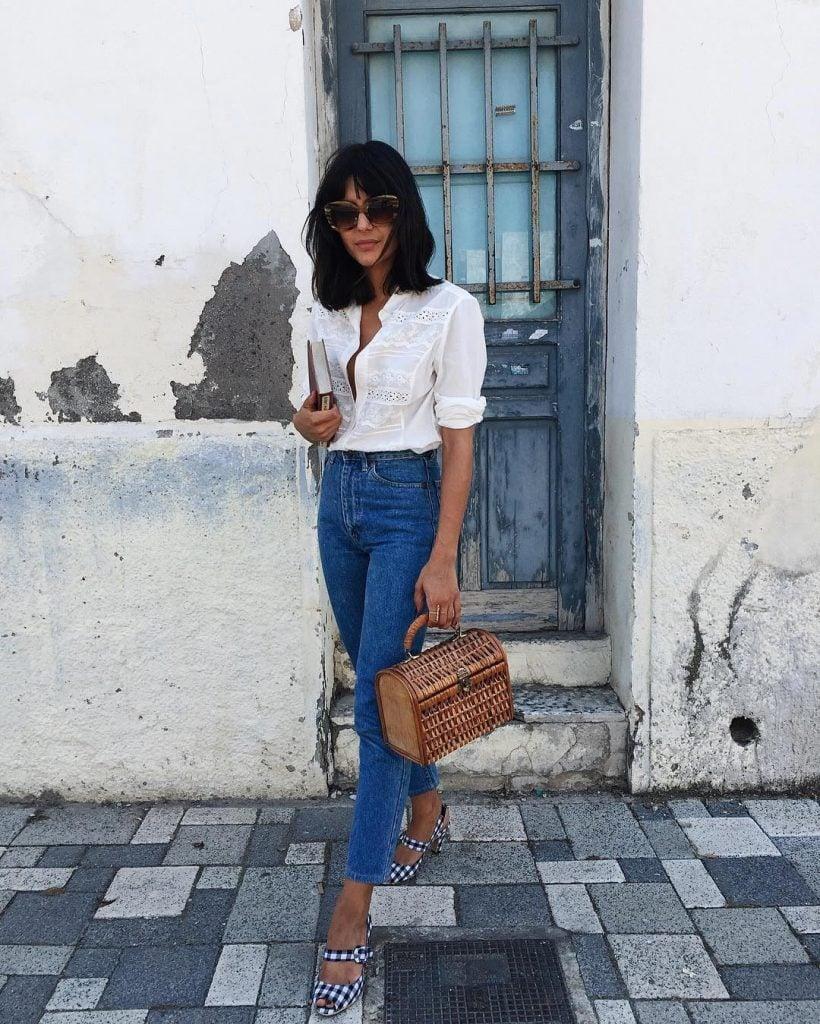 french style denim white blouse basket bag oversized sunglasses chic fashion