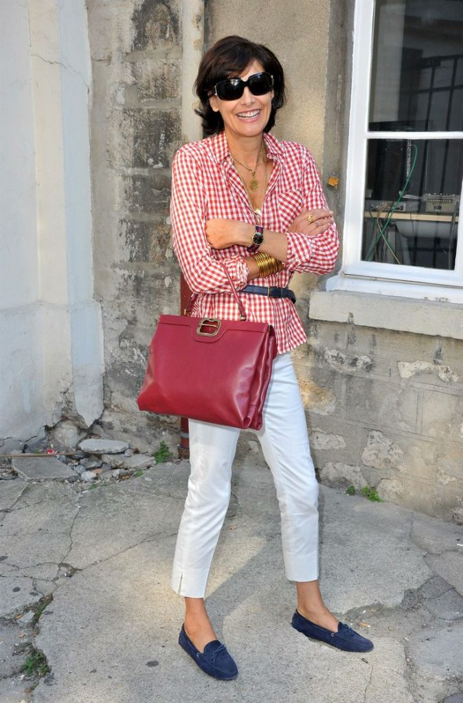french style white denim gingham shirt loafers oversized sunglasses chic fashion