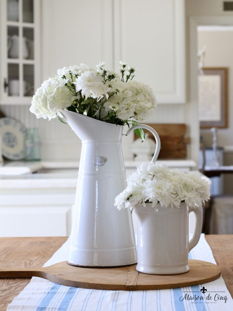 summer kitchen tour white kitchen farmhouse style fresh flowers french country style