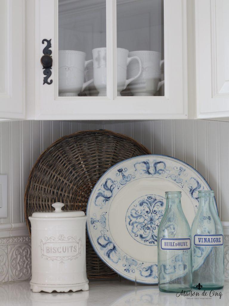 summer kitchen tour blue and white platter farmhouse style white kitchen