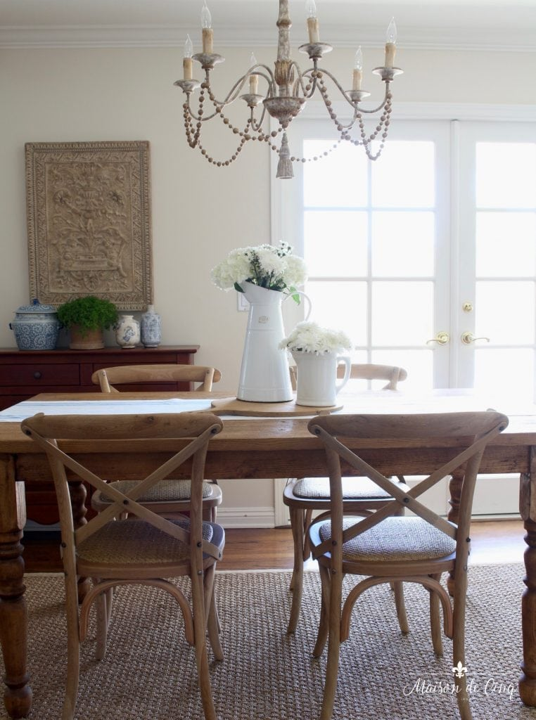 summer kitchen tour farmhouse table chairs chandelier charming french country breakfast area