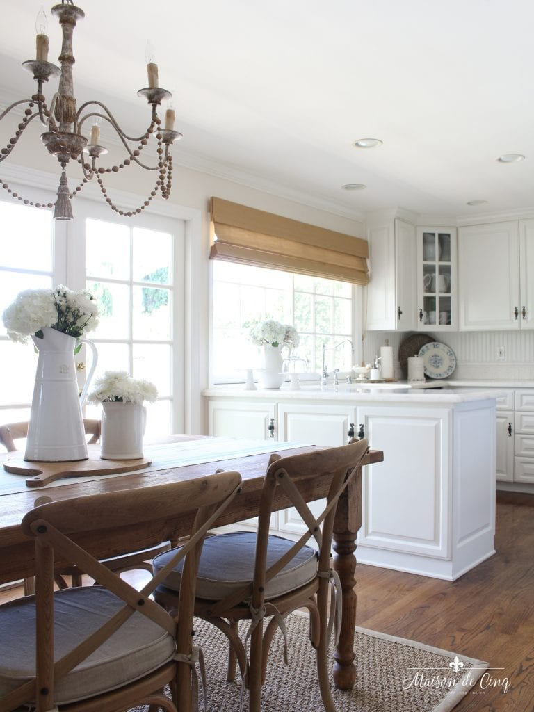 summer kitchen tour white farmhouse kitchen table and chairs breakfast area