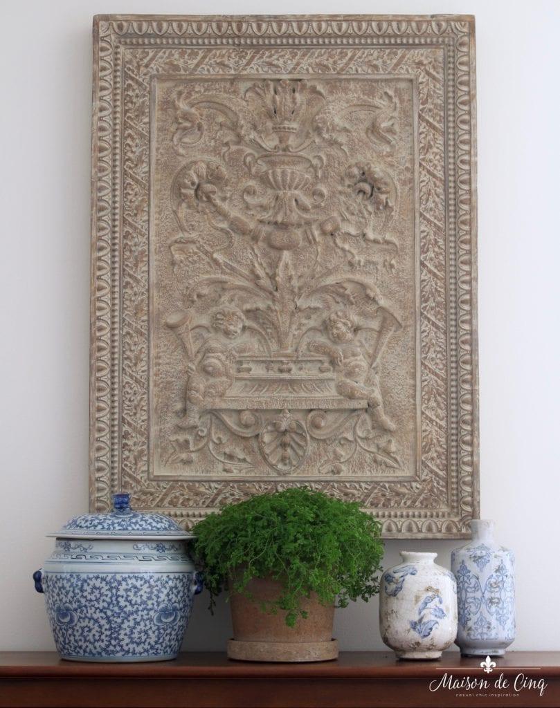 summer kitchen tour blue and white accessories plant ginger jars summer decor