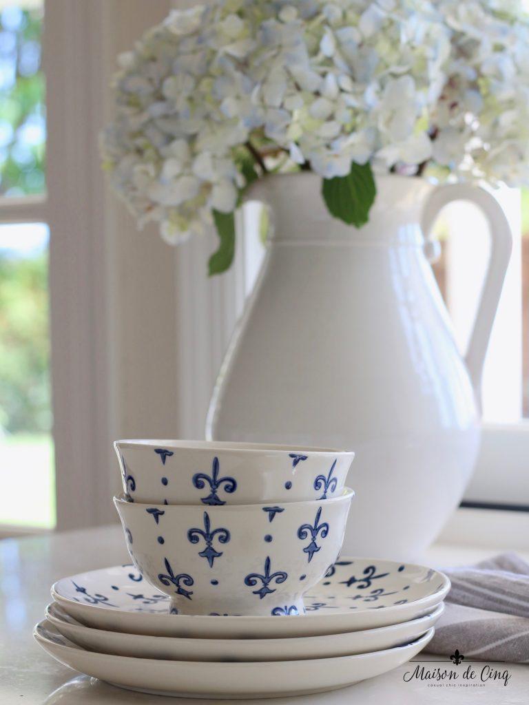 summer kitchen tour blue and white bowls blue hydrangeas white pitcher french farmhouse style