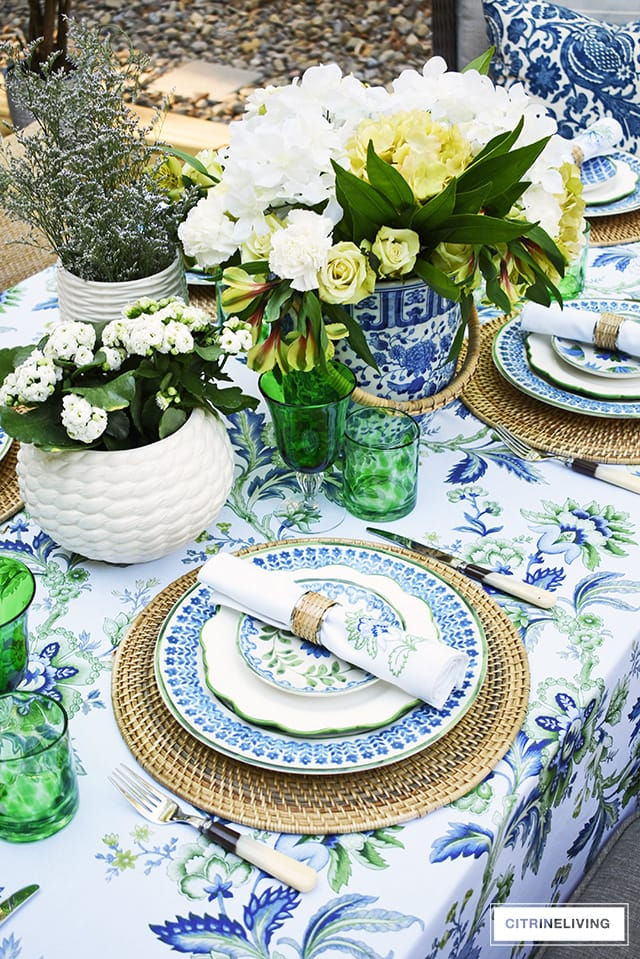 sundays at home gorgeous blue and green summer tablescape