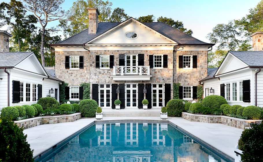 backyard renovation inspiration gorgeous home black shutters pool with limestone hardscape