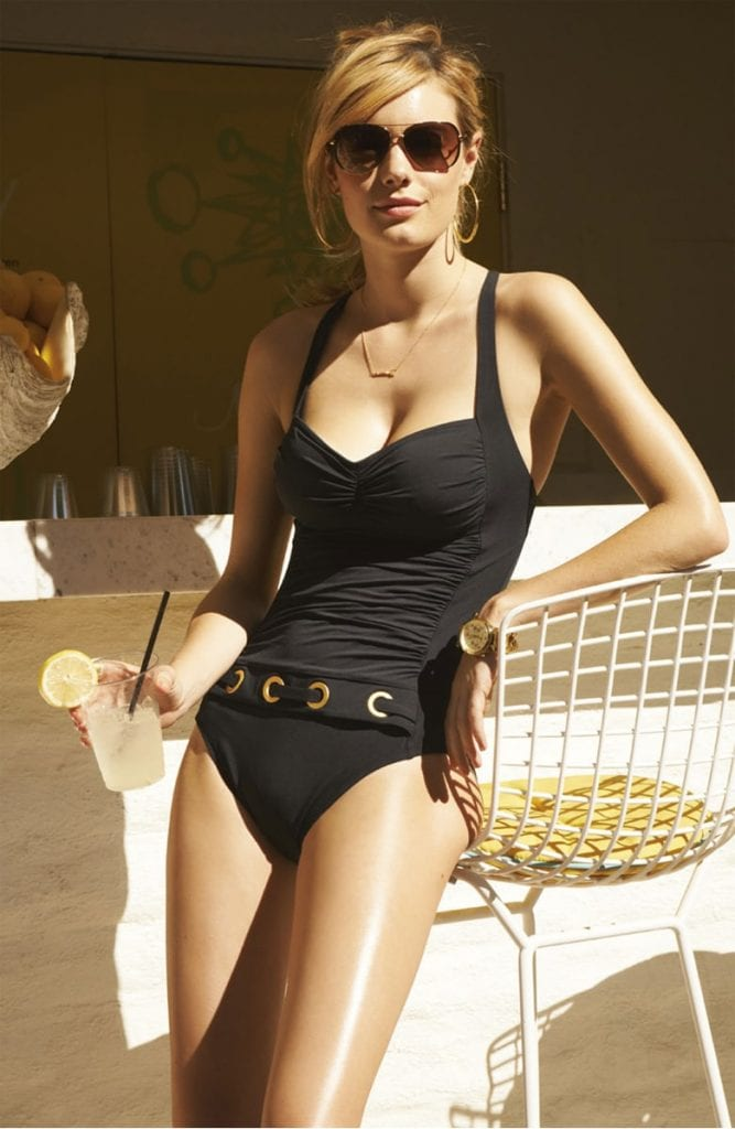 black swimsuit elegant timeless summer style