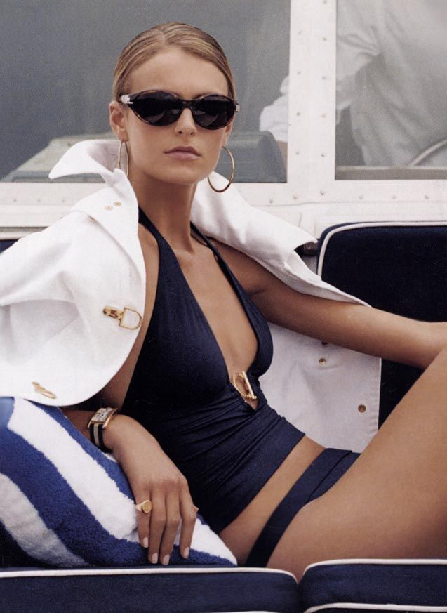black swimsuit white coverup elegant summer style sunglasses