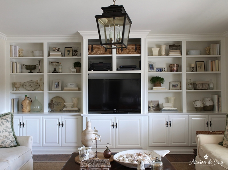 how to style bookshelves white builtins after shot french country room