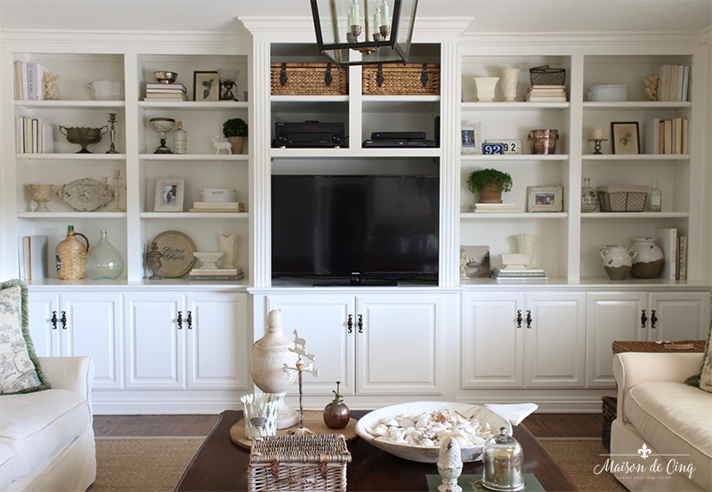 How To Style Book Shelves After Shot Gorgeous French Country Family Room Pretty Styled Built Ins