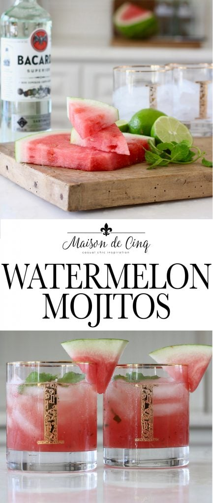 delicious watermelon mojitos cocktail recipe rum lime watermelon and mint