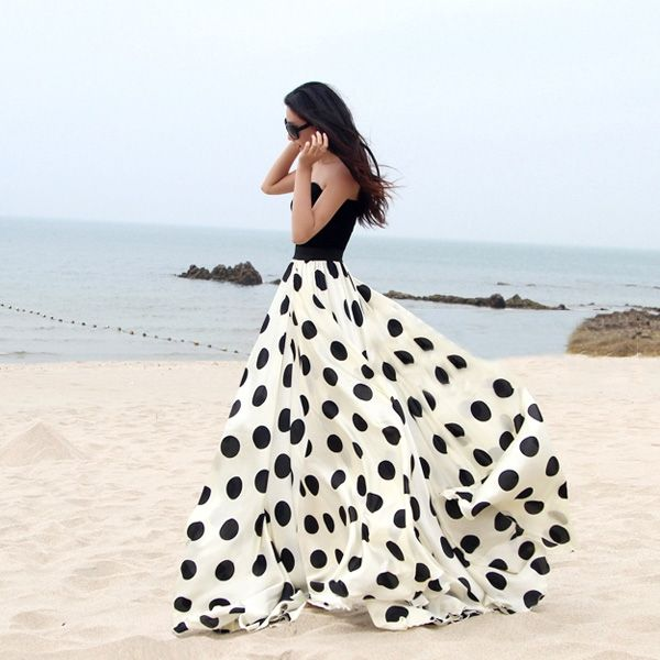 polka dots skirt black and white with black top on beach gorgeous fashion style