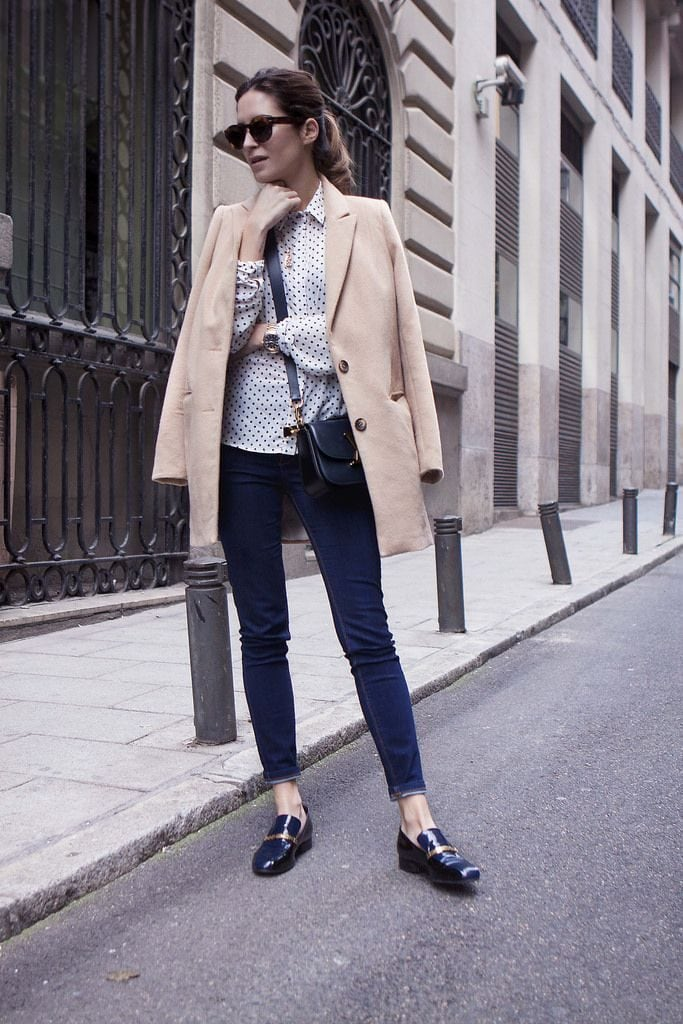 polka dot blouse with blazer jeans loafers chic street fashion style